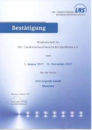 Zertifikat 2017 des Landesverbandes der Bayerischen Spediteure
